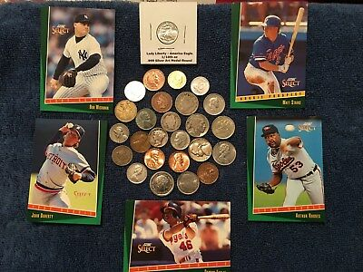 Collection MIX Lot of 26 U.S & Foreign Coins w/ (4) 90% Silver+Baseball Cards