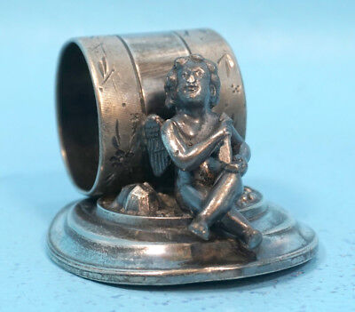 Antique Victorian Meriden Silver Plate NAPKIN RING Cupid Angel Putto 219 c1890