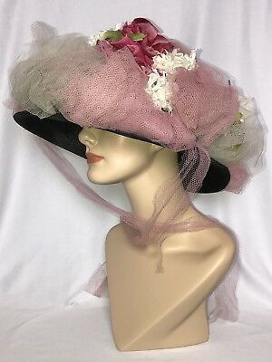 Antique Vintage Wide Brim White Pink Netted Floral Garden Party Tea Derby Hat
