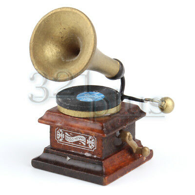 Miniature Gramophone Dollhouse Record Player Music Decor Living Room 1:12 Scale
