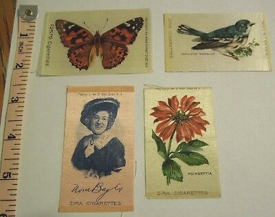 4 Antique Cigarette Silks Butterfly Bird Flower Lady NICE!! L@@K!!