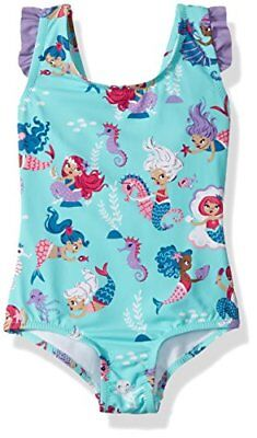 Hatley Ruffle Swimsuit, Maillot Une Pièce Fille, Blue (Underwater Blue Kingdo...