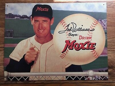 "Boston Red Sox Ted Williams says Drink Moxie 16' X 12"" Metal Sign Advertisement"