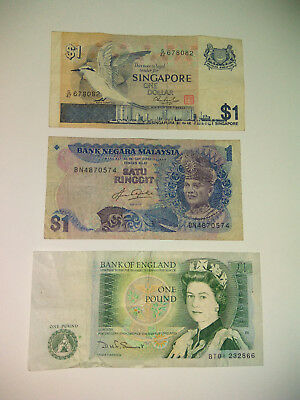 Singapore Bird Series, Malaysian Ringgit, Pound Sterling Banknote