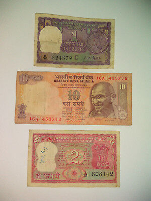 Old India Rupee Banknotes Ghandi