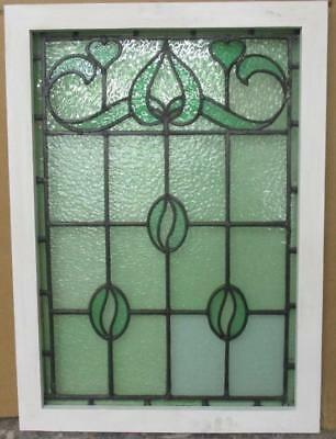 """LARGE OLD ENGLISH LEADED STAINED GLASS WINDOW Gorgeous Hearts 22.25"""" x 30.75"""""""