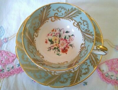 Paragon Fancy Heavy Gold with Flowers Bone China By Appointment Tea Cup & Saucer