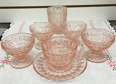 Lot of  7 Pink Holiday Buttons and Bows Depression glass