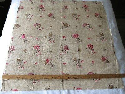 VINTAGE FRENCH DRAPERY FABRIC Barkcloth ROSE FLORAL Soft Antique Shabby Chic