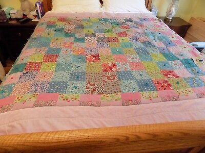 """Antique Old Tufted Patchwork Quilt 80 X 67.5""""  Homemade Multiple Print"""