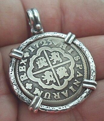 Genuine 1725 2 Reales Silver Spanish Treasure Cob Coin Sterling Pendant