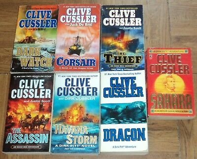 "CLIVE CUSSLER ""ACTION / ADVENTURE"" PAPERBACK COLLECTION - Lot of 7"