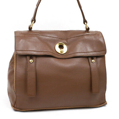 a5c08a3c9e35 Yves Saint Laurent Muse Two 2WAY Hand Bag Leather Brown 467891 100%Auth   4353