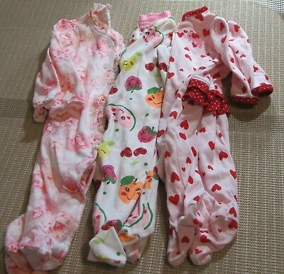 NB Newborn baby Girl pink lot of three Onepeice Sleepers Feet Footed Mixed