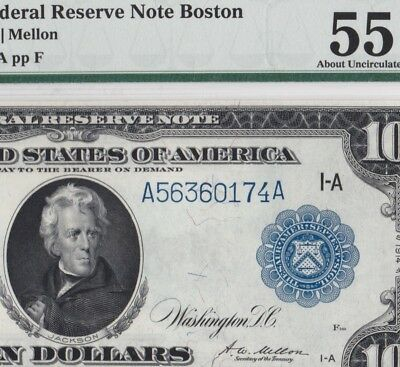 Fr.907a 1914 $10 BOSTON Federal Reserve Note PMG AU55 CHOICE Almost Uncirculated