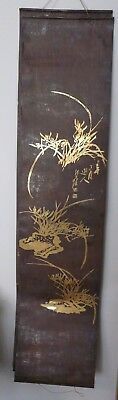 Vintage Hand Painted Shiny Gold Asian Art Signed on Tin Old Unique Rare