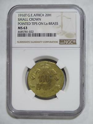 German East Africa  Deutsch Ostafrika 1916 T 20 Heller Bra Ngc Ms63 S-C Coin Lot
