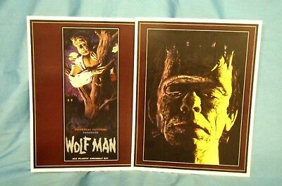 AURORA MONSTER ART ~ Lot of 2, 11 x 14 inch FRANKENSTEIN & THE WOLF MAN PRINTS !