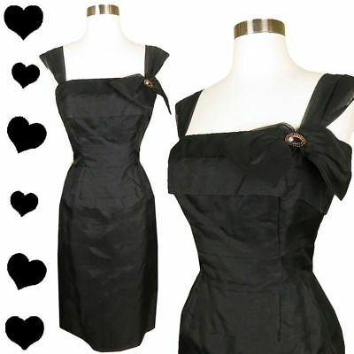 Vintage 50s Black Bow Organza Tiered Cocktail Party Dress XS S Pinup Rockabilly
