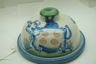 M A Hadley Pottery Dome Butter Dish 2 Pc Stoneware Signed Vintage Cow Scene