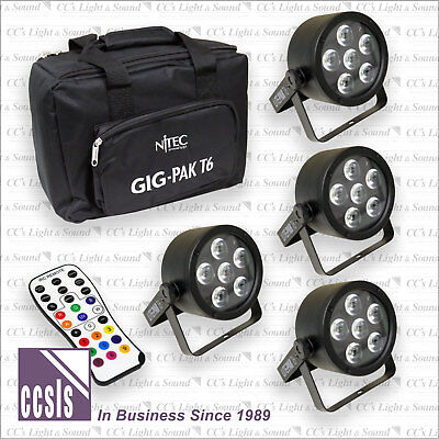 Nitec Tri-6 pack, 4 x RGB Tri-color 6  LED Pars with carry bag & Infrared remote