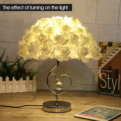 LED Romantic Rose Study Desk Table Bedside Lamp Eye-Care Nightlight Home Decor