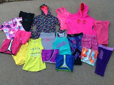 Girls Nike Under Armour Lot M 10 12 Athletic Shorts Shirts Hoodie Pants