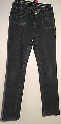 Baby Phat Black W/ Gold Shimmer Jeans Girls Size 14