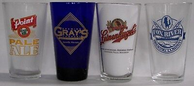 Wisconsin micro beer, brewery pint glasses, your choice, pick the 4 you want