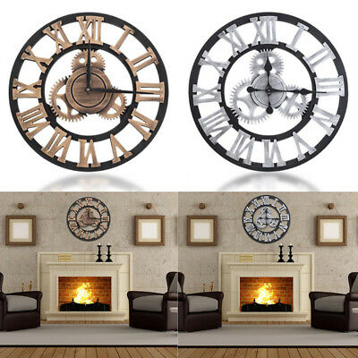 Large Outdoor Garden Wall Clock Big Roman Numerals Giant Open Face Wood 30/80CM