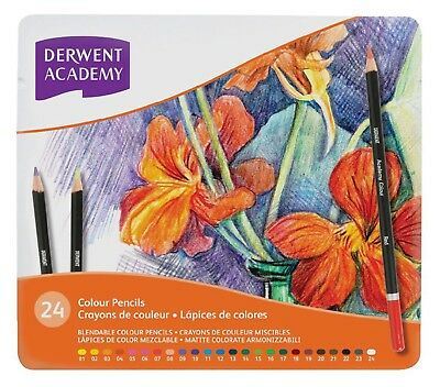 DERWENT ACADEMY 24 Colour Pencils in Tin - Art School Adult Colouring Books