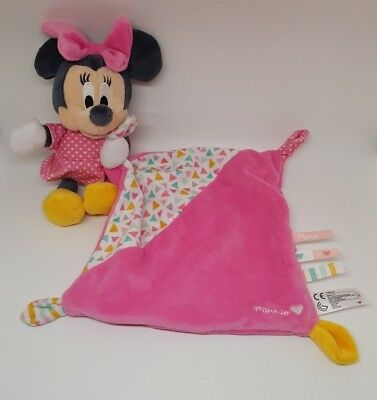 Doudou Minnie Disney Mouchoir Rose Blanc Pois Jaune Triangle Multicolore  Neuf