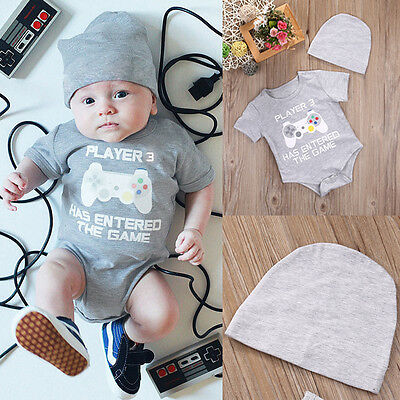 PLAYER 3 Newborn Baby Boy Clothes Romper Bodysuit+Hat Outfits Set Summer