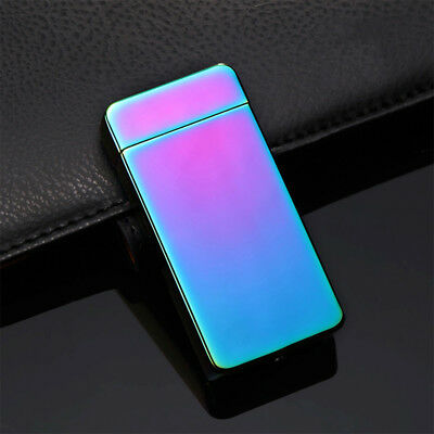 Metal USB Cigarette Rechargeable Electric Lighter Double Arc Windproof Lighter F