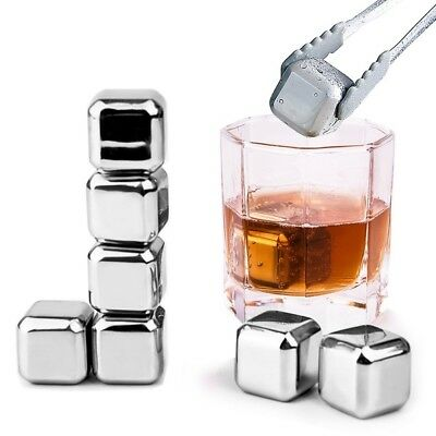 Stones Stainless Steel Ice Cubes - Reusable Whisky Chilling Rocks - Set of 8