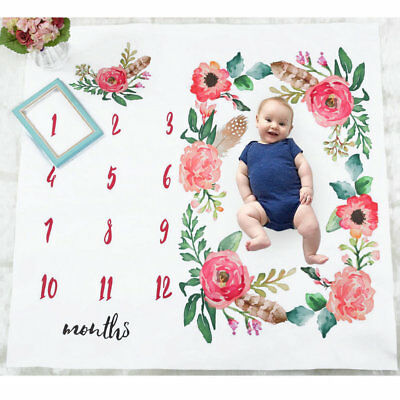 AU Soft Newborn Baby Letter Milestone Blankets Photography Photo Props Shoots E2
