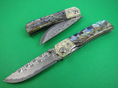 Smooth Open Abalone Chungang Head Handle Damascus Steel Blade Folding Knife