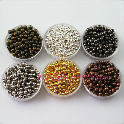 New Round Ball Metal Spacer Beads Charms 2.4mm 3.2mm 4mm 5mm 6mm