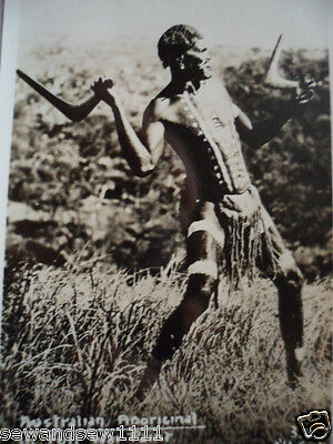 Antique Vintage Old Photo Postcard Aboriginal Man In Full War Paint Boomerang