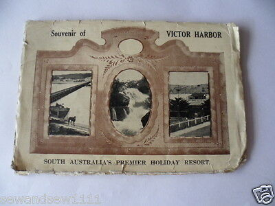 antique old vintage photo postcard souvenir of Victor Harbor SA map and pictures