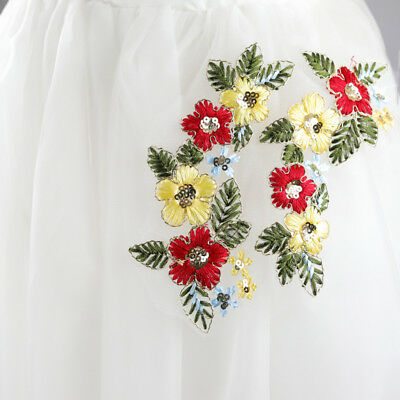 1 Pc Embroidery Lace Fabric Bridal Costume Applique Sewing Lace Trims DIY Craft