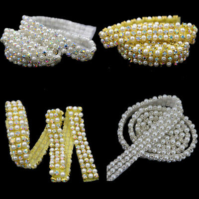 Faux Pearl Rhinestone Crystal Bridal Costume Sash Belt Applique DIY Sewing Craft