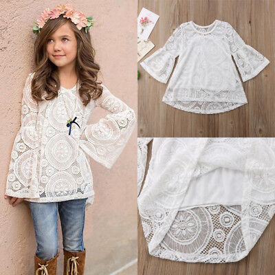 Kids Baby Girl Long Sleeve Floral Lace Tops T-shirt Mini Dress Clothes AU Stock
