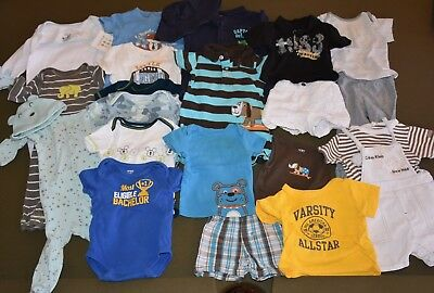 Lot 23 Pieces Baby Boys 3-6 months Clothes PJs Overalls Calvin Klein