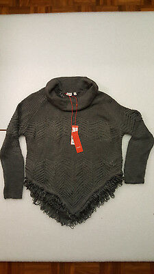 ESPRIT chunky knit poncho style jumper charcoal grey