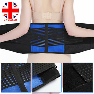 Double Adjustable Pull Lumbar Support Lower Back Elastic Belt Brace Pain Relief