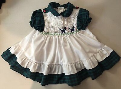 Vintage Polly Flinders Smocked Embroidered 18 Month Infant Baby Dress S/S Dogs