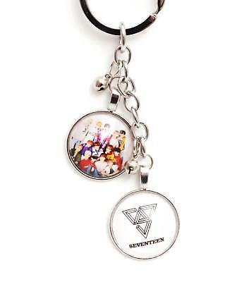 K-pop SEVENTEEN Metal Pendant Keyring Key Chain - White  Logo