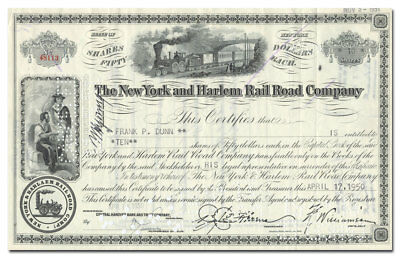 New York and Harlem Rail Road Company Stock Certificate
