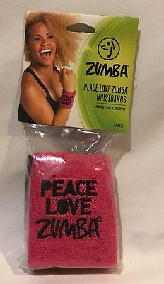 Zumba Peace Love Wristbands 2 Pack Pink Black One Size Fits Most